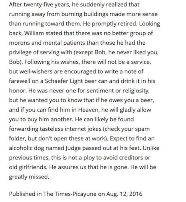 Man Shows Off His Sense Of Humor By Writing His Own Hilarious Obituary