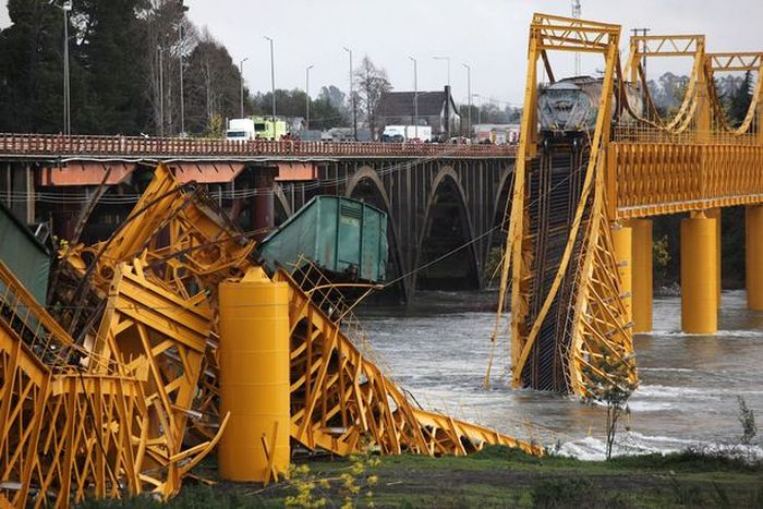 Chemical Train Plunges Into River After Bridge Collapses