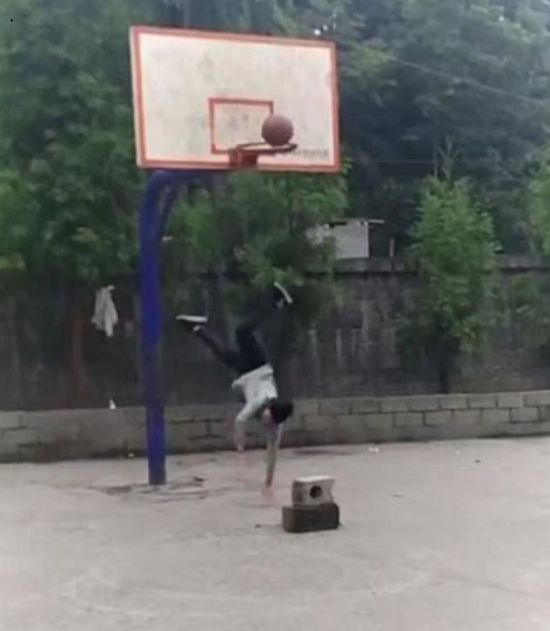 Unsuccessful Basketball Jump Goes From Bad To Worse