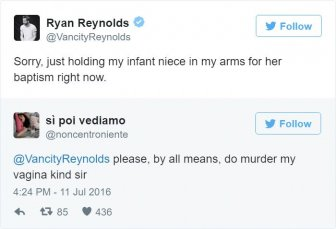 Ryan Reynolds Hilariously Responds To Inappropriate Fan Tweets