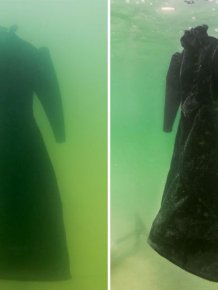 Dress Turns Into Glittering Salt Crystal Masterpiece After 2 Years In The Dead Sea