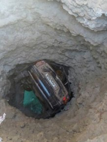 Car Gets Stuck In The Side Of A Cliff