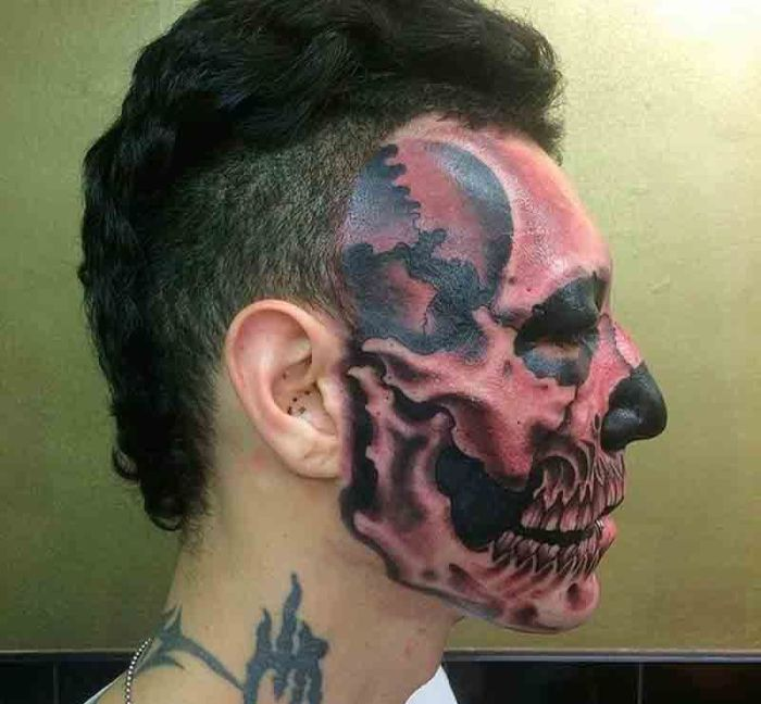 Man Gets Skull Tattooed On Half His Face Others