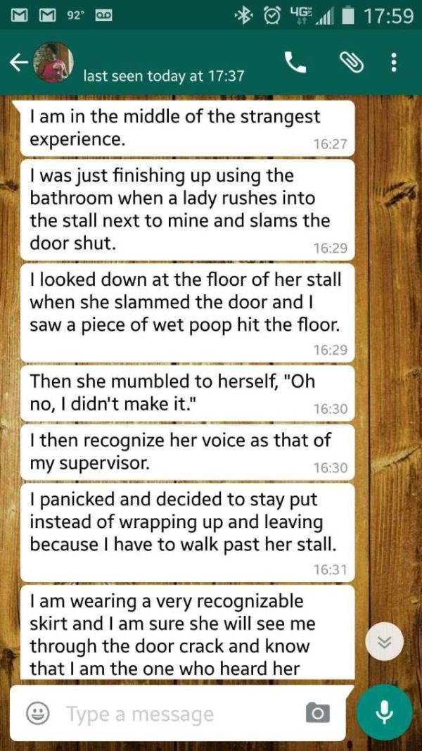 Girl Shares Awkward Story While She's Stuck In A Toilet Stall