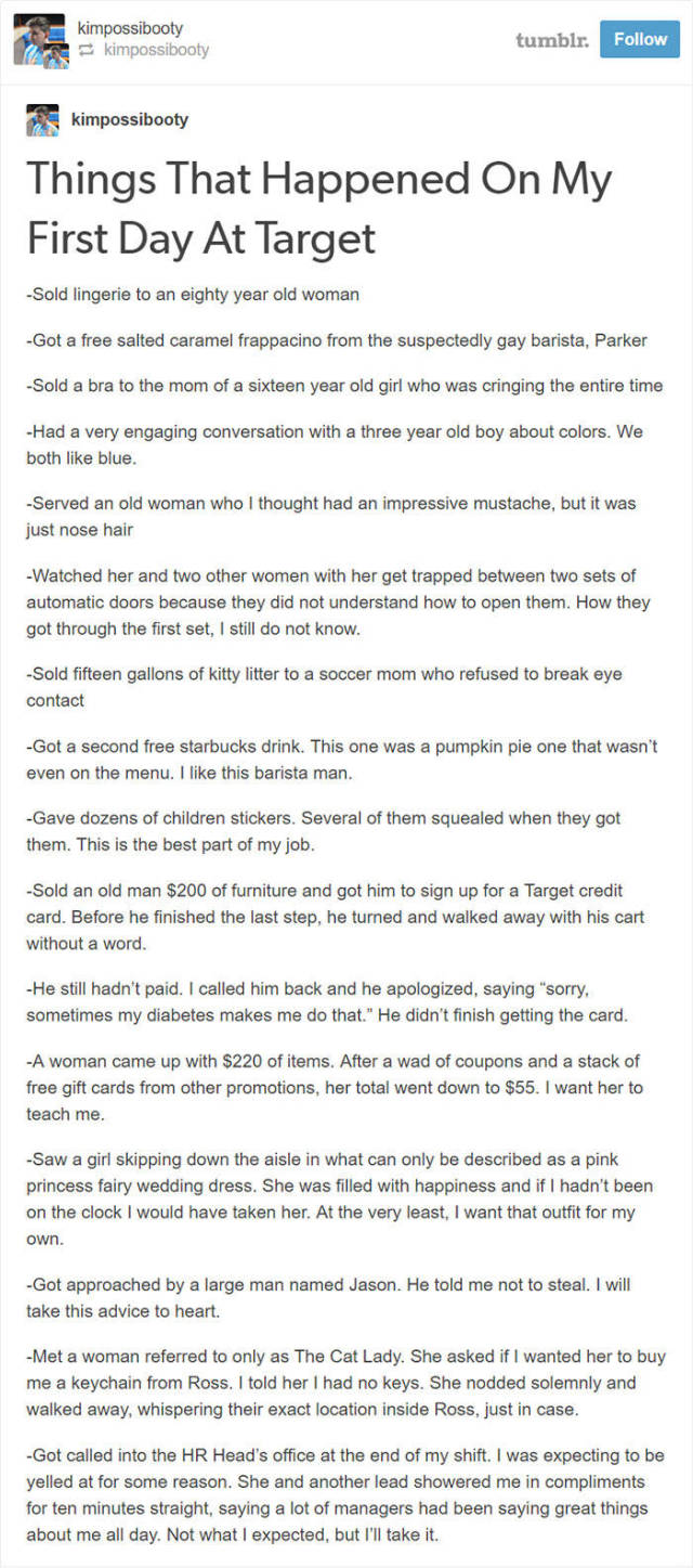 New Target Employee Shares A Detailed Story About His First Week On The Job