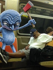 Artist Places Strange Creatures Next To People On The Subway