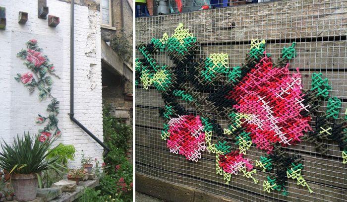 Raquel Rodrigo Creates Amazing Cross-Stitch Street Art In Madrid