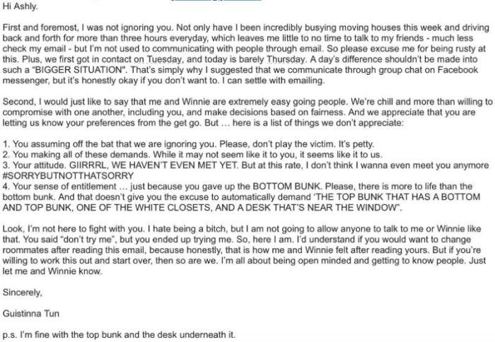 UCLA Freshmen Receives Crazy Letter From Her Roommate She Hasn't Met Yet