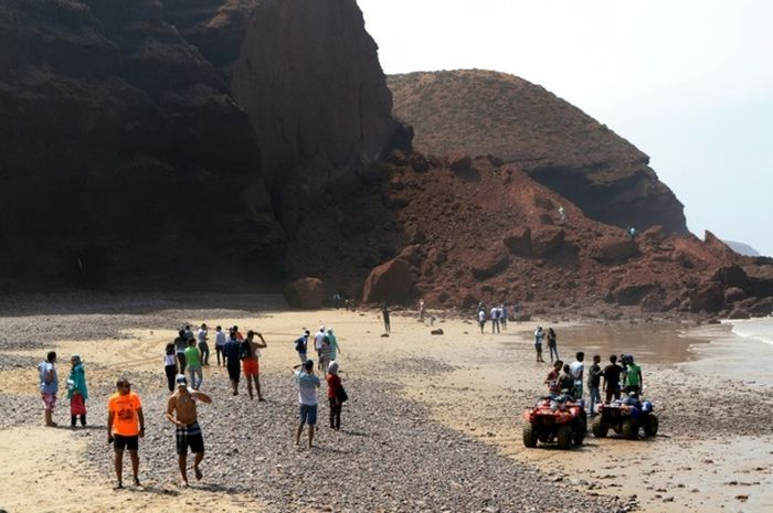 Rock Archway Collapses On A Moroccan Beach