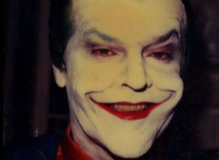 Jack Nicholson Before And After Applying His Joker Makeup For Batman