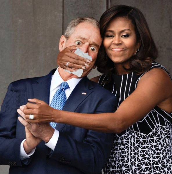 A Photoshop Battle Ensued Shortly After Michelle Obama Hugged George W. Bush