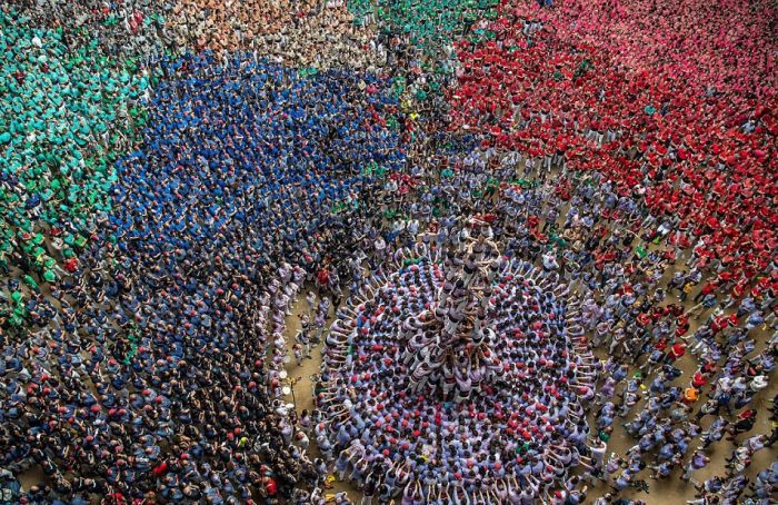 Hundreds Of People Build A Human Tower In Spain