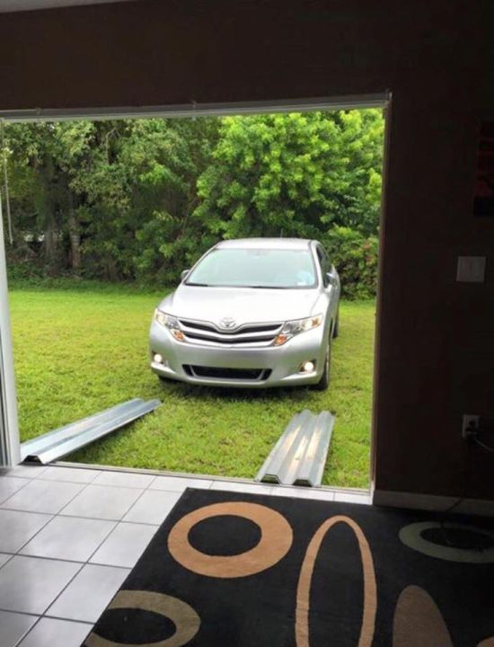Car Rides Out Hurricane Matthew In The Living Room