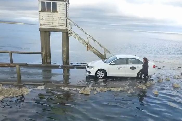 Drone Captures Uber Driver Racing Against The Sea Tide