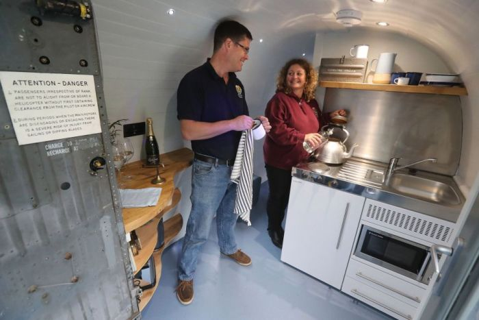 Couple Turns Old Helicopter Into Their New Holiday Home