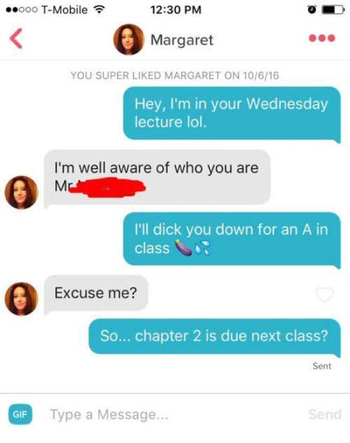 Guy Tries To Get An A After Matching Up With His Teacher On Tinder