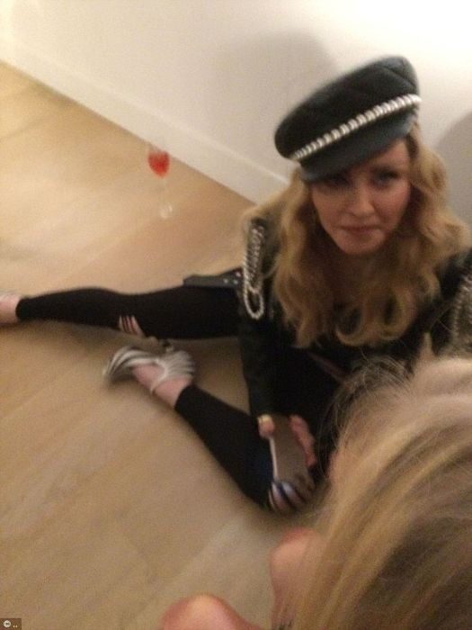 Madonna Drinks Wine On The Floor During Photography Exhibit