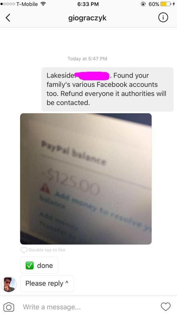 Instagram Scammer Learns A Hard Lesson After Getting Busted