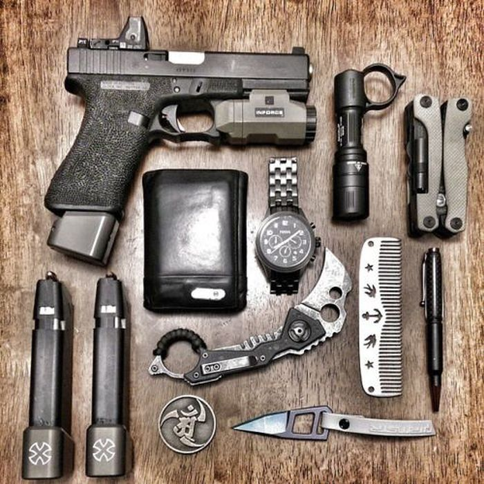A Cool Collection Of Survival Kits And Weapons
