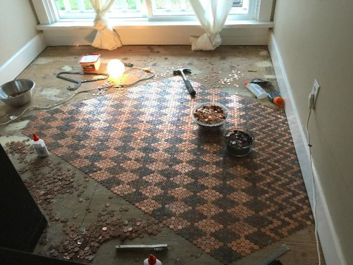 Woman Covers Her Entire Floor In Pennies