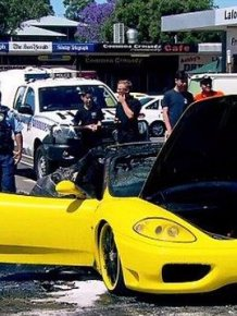 Yellow Ferrari Goes Up In Flames At Sydney ATM