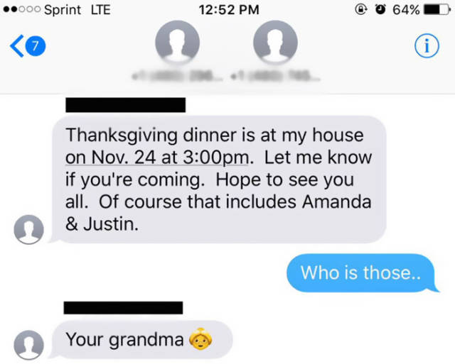 Guy Gets A Thanksgiving Text From The Wrong Grandma
