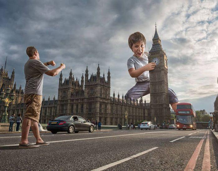 Dad Uses Photoshop To Place His Son In Surreal Scenarios