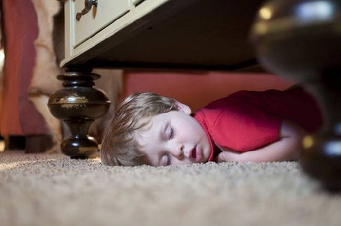 Kids Will Sleep Just About Anywhere When They're Ready To Nap