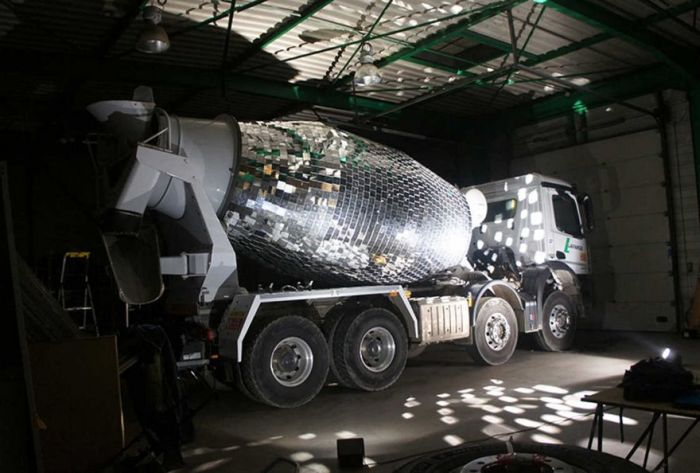 Artist Turns Cement Mixer Into Epic Giant Disco Ball