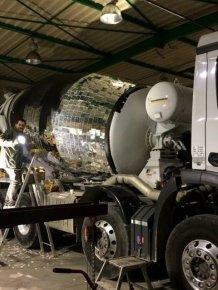 Artist Turns Cement Mixer Into Epic Giant Disco Ball