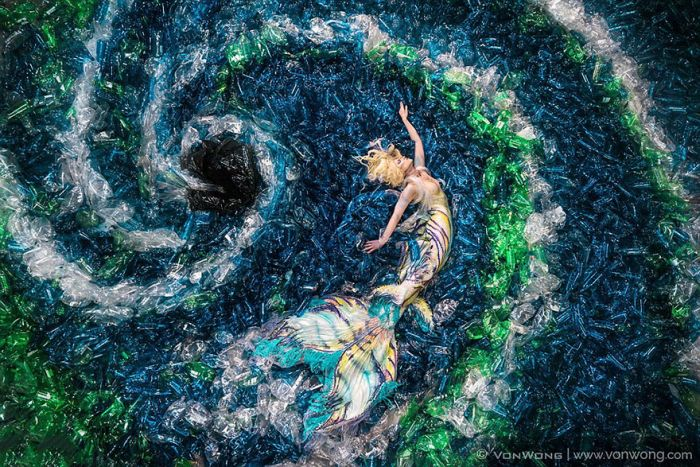 Powerful Photos Show Mermaids Swimming In A Plastic Bottle Ocean