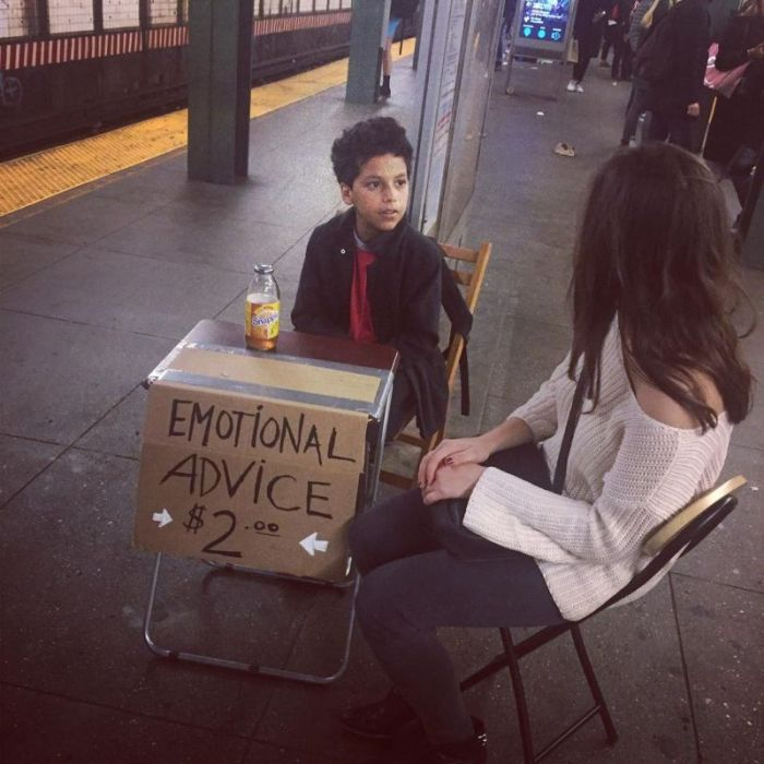 Small Psychologist Offers Emotional Advice To People In New York City