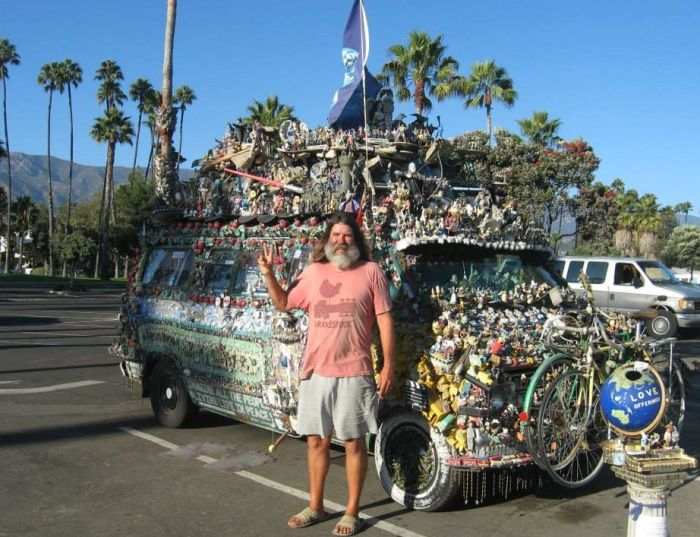 Jesus Loving Hippie Travels The World Showing Off His Van
