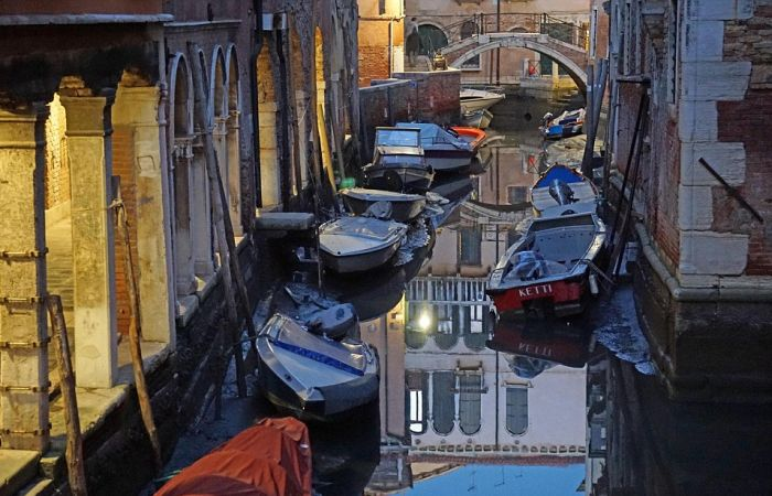 Low Tide Exposes Venice's Canal Network
