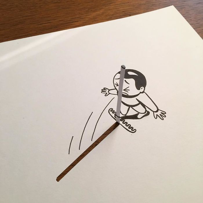 Illustrator Brings His Cartoons To Life With Clever 3D Tricks