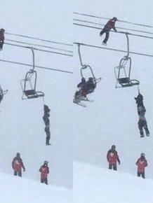 Kid Tightrope Walks On Ski Lift Cables To Save Friend