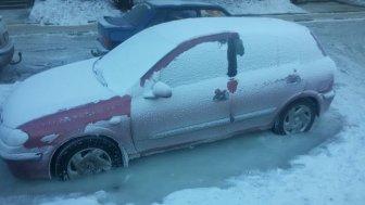 Frozen Car Wheels Stuck In The Ice