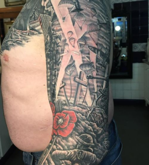 Guy Shows Off His Amazing World War II Cover Up Tattoo
