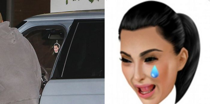 People Love The Fact That Kanye West Has A Crying Kim Emoji In His Car