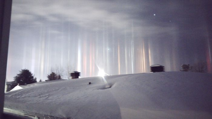 Phenomenon Known As Light Pillars Illuminates Ontario Night Sky