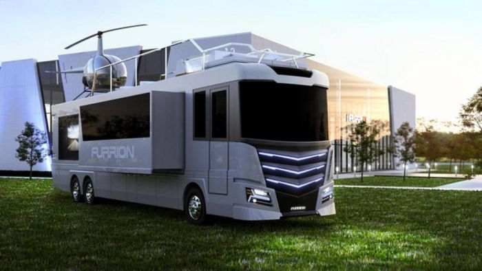 State Of The Art Motorhome Comes With A Hot Tub And A Helicopter