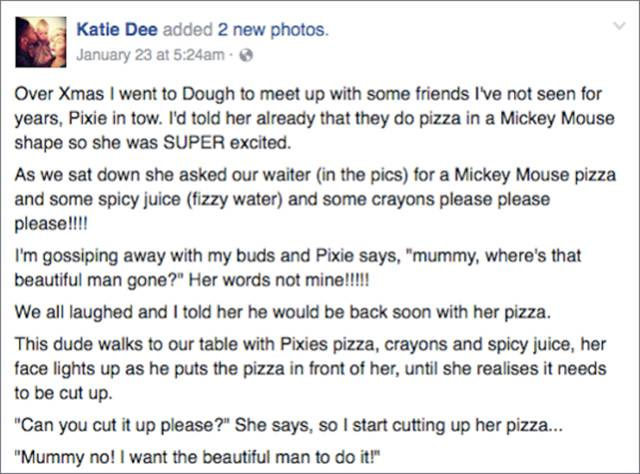 Superhero Waiter Helps Out A Mom In Need