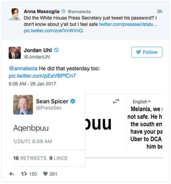 Press Secretary Sean Spicer Accidentally Tweets His Password