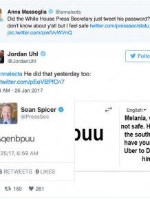 Press Secretary Sean Spicer Accidentally Tweets His Password