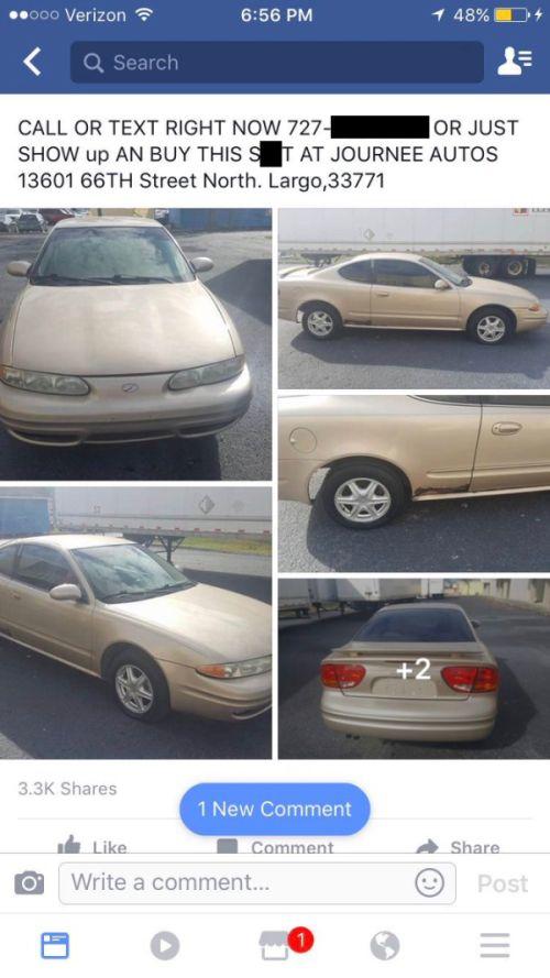 Guy Posts Hilariously Honest Description Of His $900 Car
