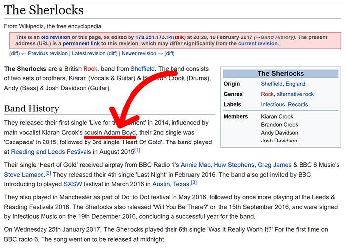 Teen Uses Wikipedia To Sneak Into Band's VIP Section