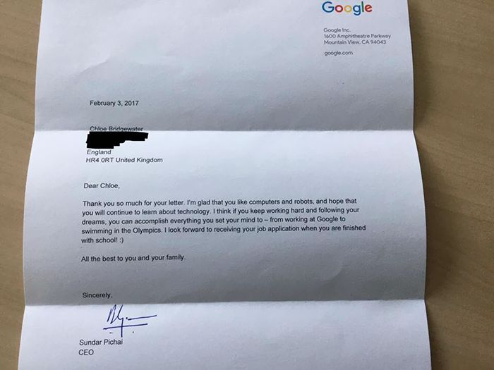 Young Girl Gets A Priceless Response After Sending A Letter To Google