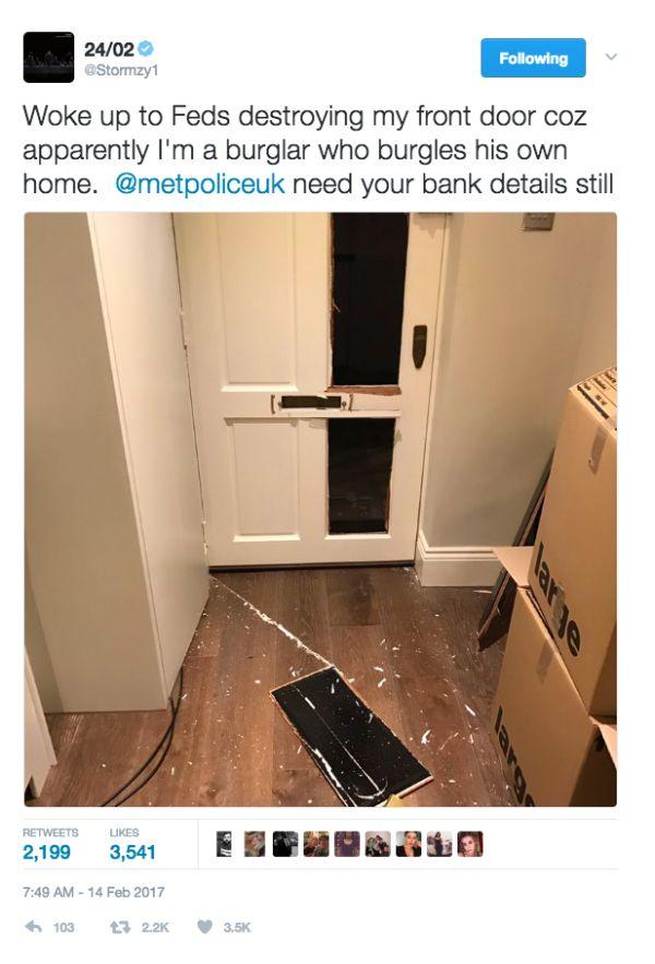 Stormzy Says Police Broke Down His Front Door Down