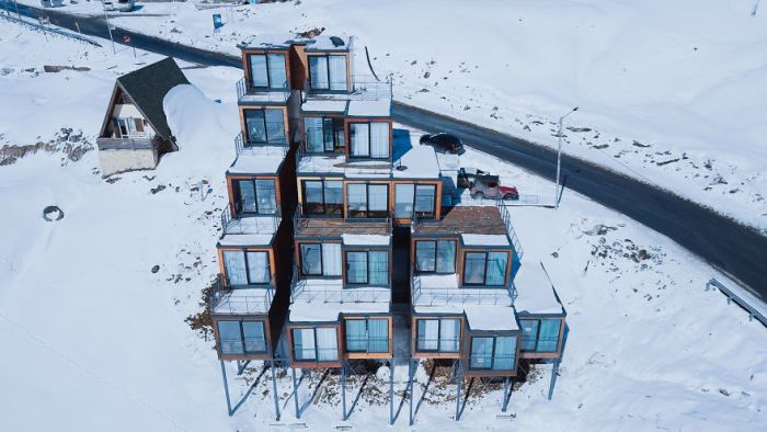 This Ski Resort Has A Hotel Made Of Cargo Containers