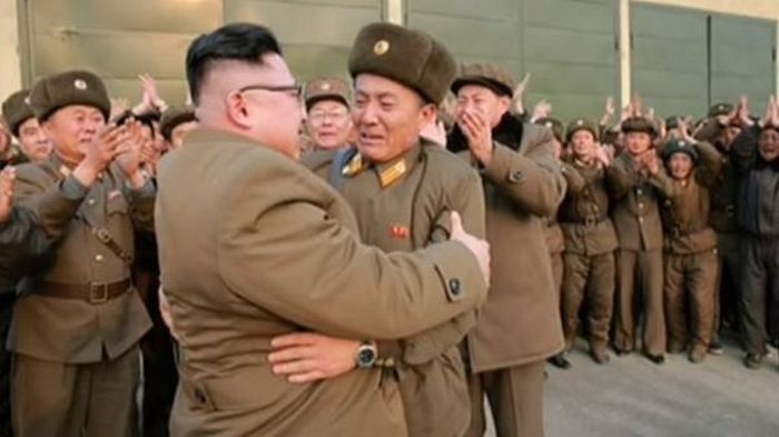 Kim Jong-Un Gives A Soldier A Piggyback Ride